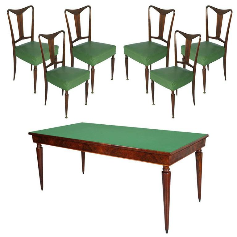 Paolo Buffa Style Mid-Century Italian Dining Room Table Glass Top and Six Chair