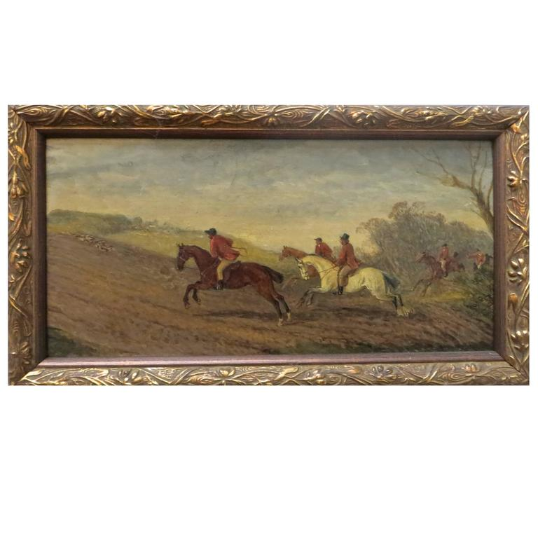 Early 19th Century English Hunting Scene Oil on Board For Sale