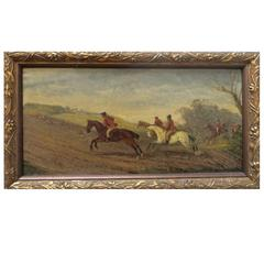 Early 19th Century English Hunting Scene Oil on Board