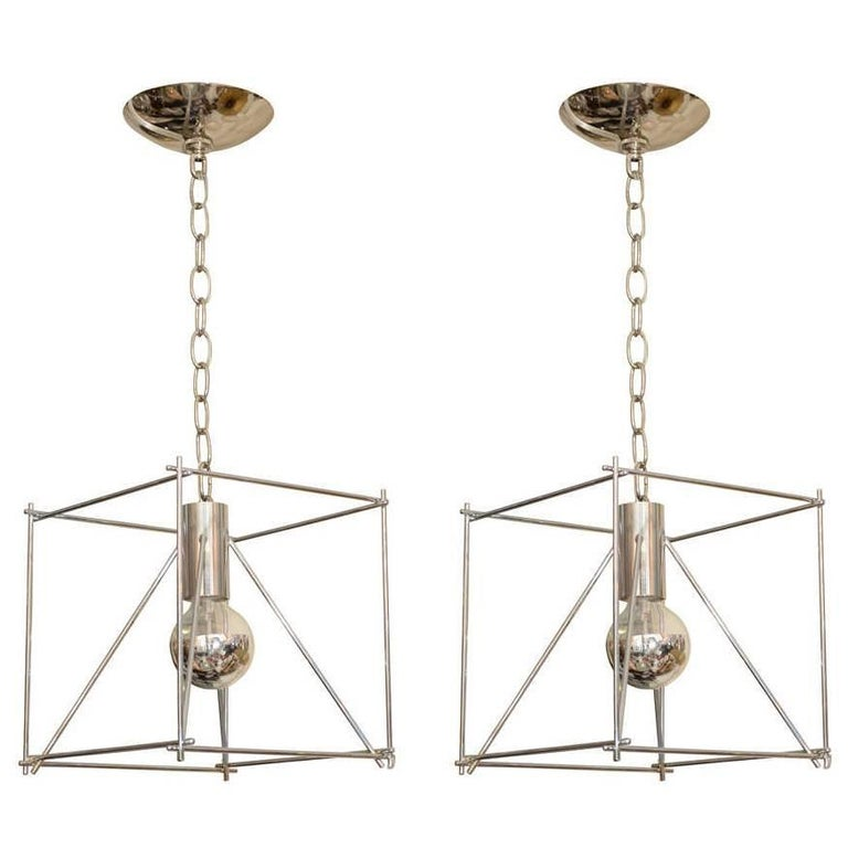 """Geometric Chrome """"Wire Frame"""" Pendant Ceiling Fixtures For Sale"""