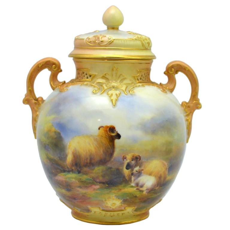 Royal Worcester Vase And Cover Painted By Harry Davis For Sale At