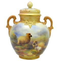 Royal Worcester Vase and Cover, Painted by Harry Davis