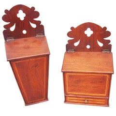 Antique 18th Century Mahogany Rare Pair of Hanging Boxes
