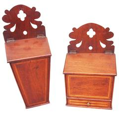 Antique 18th Century Mahogany Rare Pair of Hanging Boxes