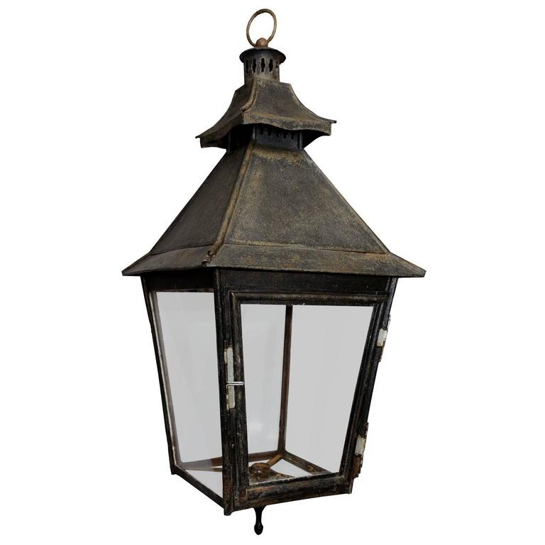 French Early 19th Century Painted Tole Hanging Hall Lantern, circa 1840