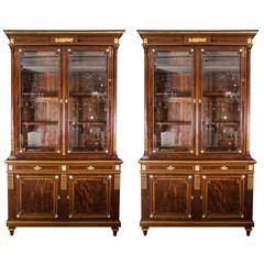 Pair of 19th Century Mahogany Two-Door Bookcases