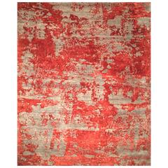 Contemporary Modern Design Rug Grey and Red