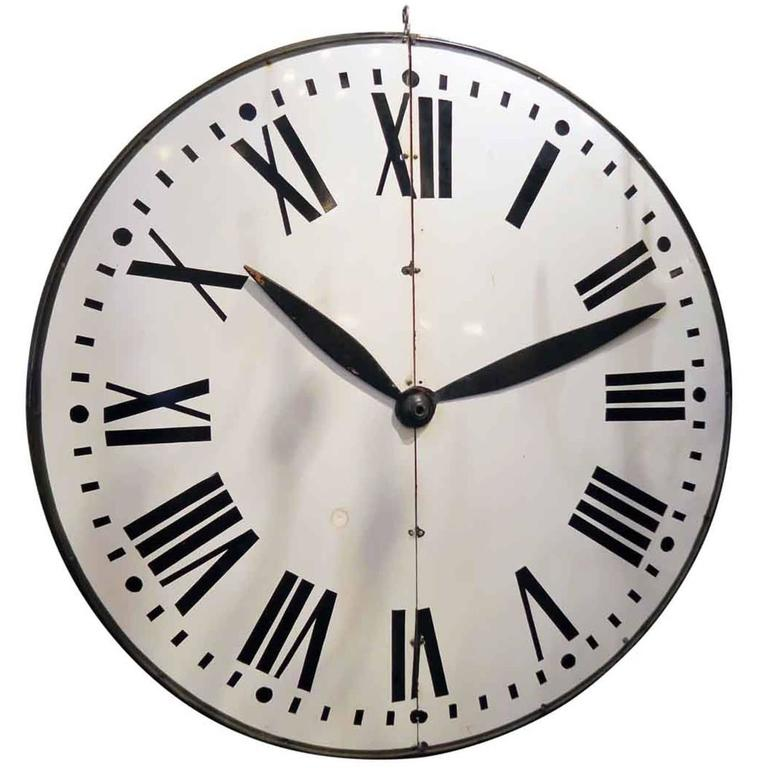 1910s Large White Enamel Steel Clock Face With Wooden