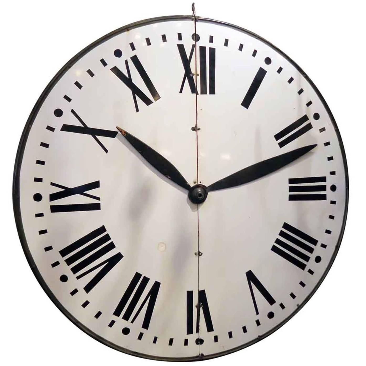 1910s Large White Enamel Steel Clock Face with Wooden Hands and Roman Numerals