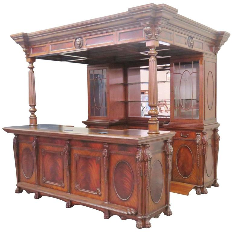 Maitland Smith Carved Walnut Bar With Lion S Heads For