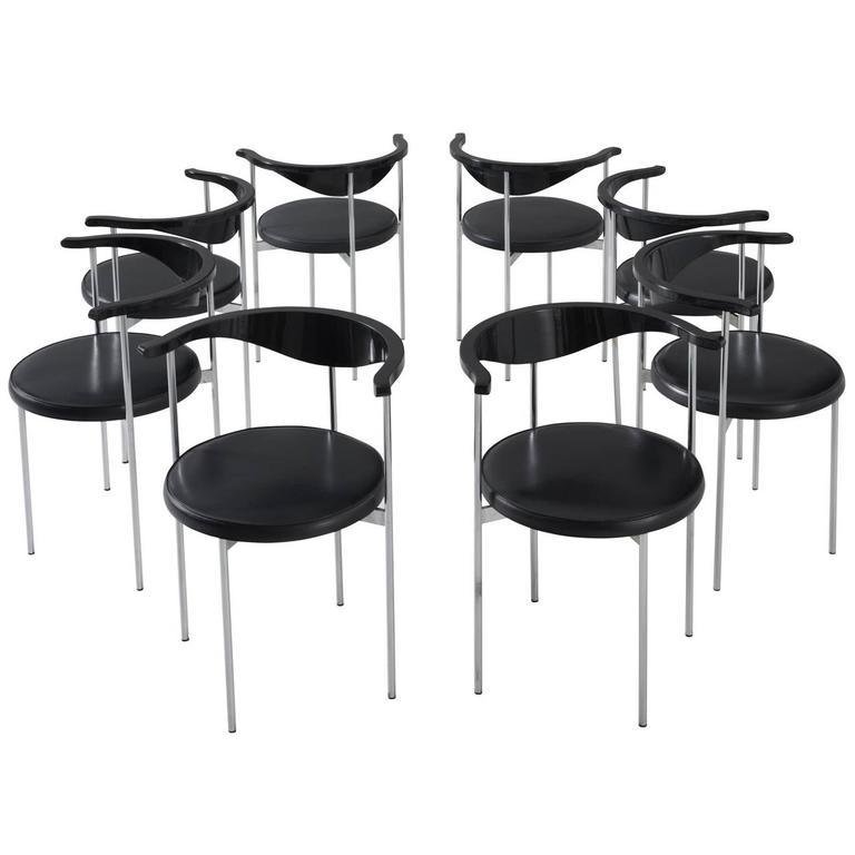 Set of Eight Frederik Sieck for Fritz Hansen Chairs
