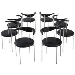 Set of Eight Frederik Sieck for Fritz Hansen Chairs