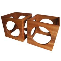 Pair of Solid African Mahogany Nightstands or Side Tables by Corinne Robbins