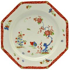 First Period Worcester Plate, Decorated in the Kakiemon Palette