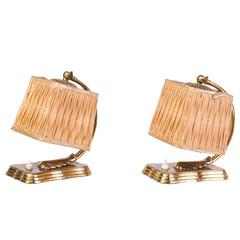 Gorgeous Pair of 1940s Silk and Brass Hollywood Regency Bedside Lamps