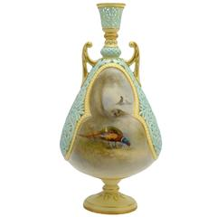 Royal Worcester Pierced Vase, Painted by Jas. Stinton