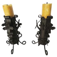 Art Nouveau Pair Wrought Iron Candlesticks