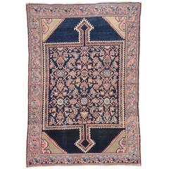 Antique Persian Malayer Rug with Pink Motifs in a Blue Field