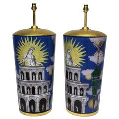 Pair of Large Eglomise Lamps in the Manner of Fornasetti