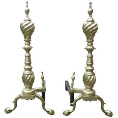 Late Victorian Spiral Chippendale Style Brass Fireplace Andirons, Pair