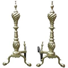 Late Victorian Spiral Chippendale Style Brass Andirons, Pair