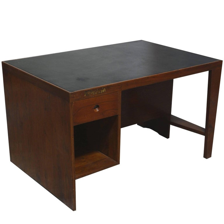 Pierre Jeanneret Office Desk with Original Lettering For Sale