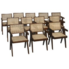 Pierre Jeanneret, Rare Set of 12 Office Chairs