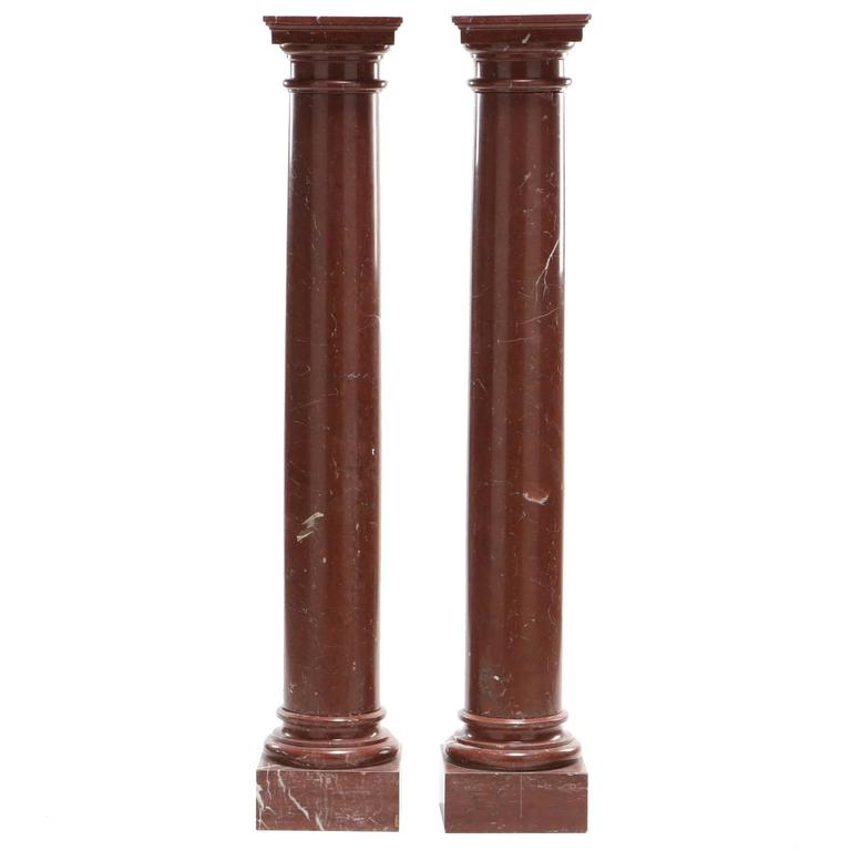 Pair of Rouge Marble Neoclassical Columns