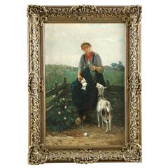Fine Dutch Barbizon Painting of Girl Feeding Goats by David de la Mar