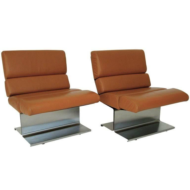 Pair of French Stainless Steel Lounge Chairs by Paul Geoffrey 1