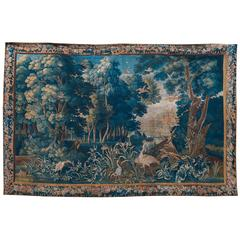 Large Verdure Brussels Tapestry of a Landscape Scene, circa 1750