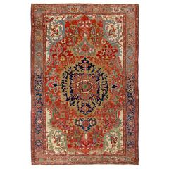 Elegant Antique Persian Serapi Rug
