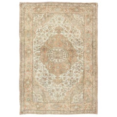 Vintage Turkish Oushak Rug in Peach, Ivory, light Blue  and light Green colors