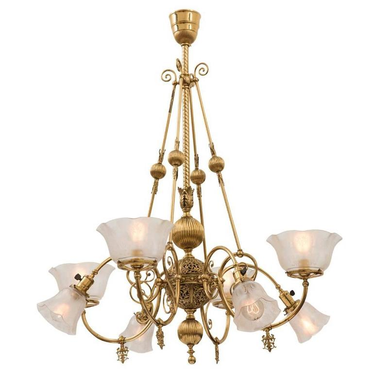 Electric Chandelier Gaselectric empire chandelier with brass plated finish circa 1900 gaselectric empire chandelier with brass plated finish circa 1900 for sale audiocablefo
