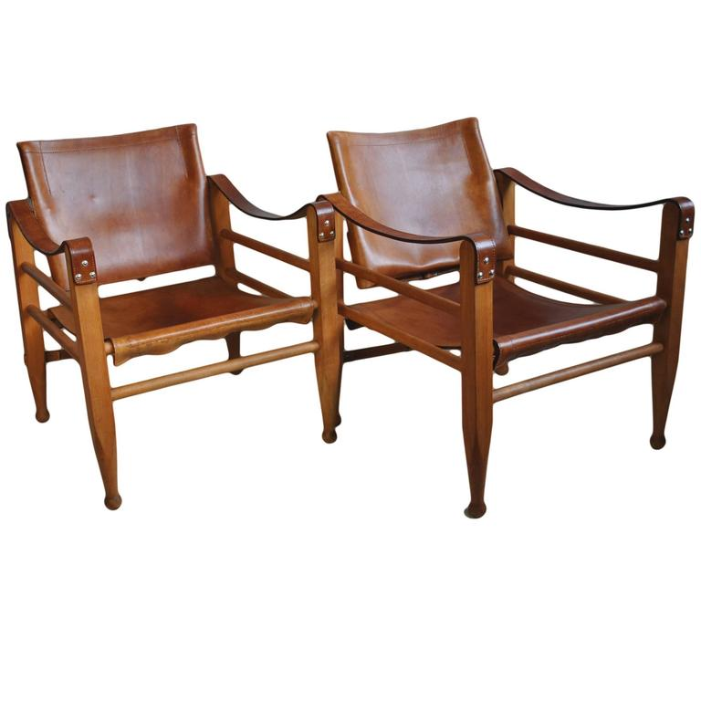 Merveilleux Pair Of Børge Mogensen Safari Chairs For Sale