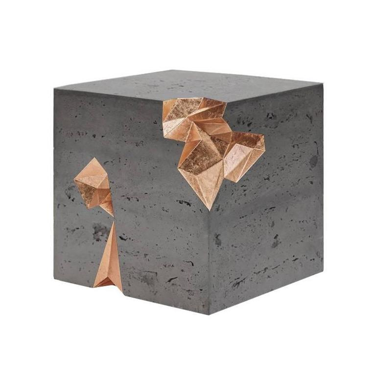 Contemporary Monolith Table in Concrete and Gold Leaf   For Sale