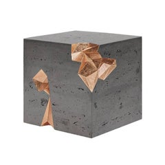 Contemporary Monolith Geometric Table in Concrete and Gold Leaf