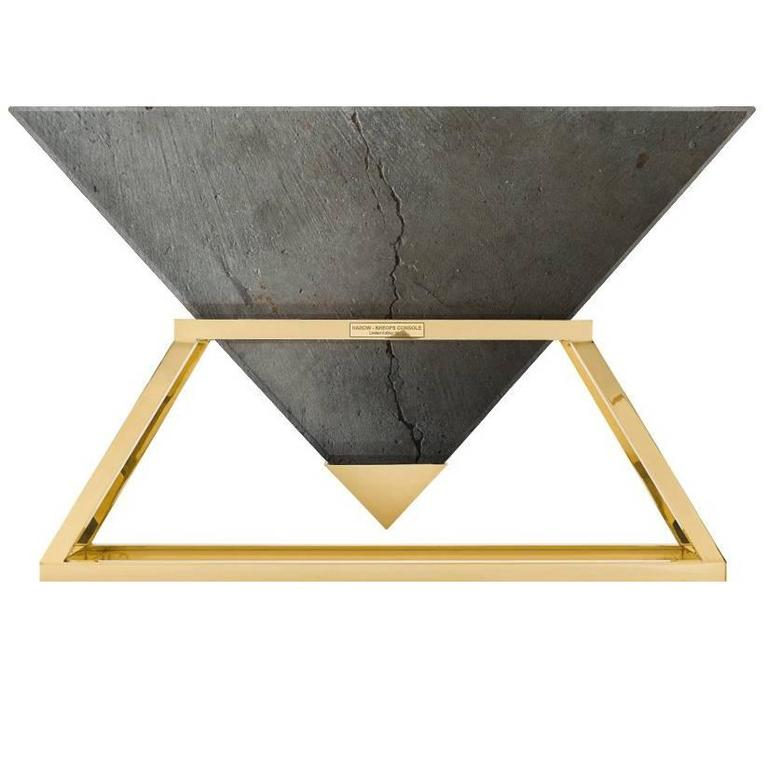 Contemporary Kheops Console Table in Concrete and Aluminum   1