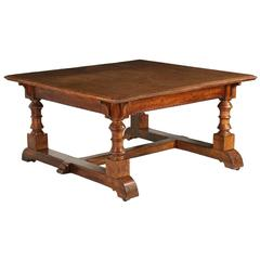 Large English Arts & Crafts Oak Squared Library Table, circa 1870