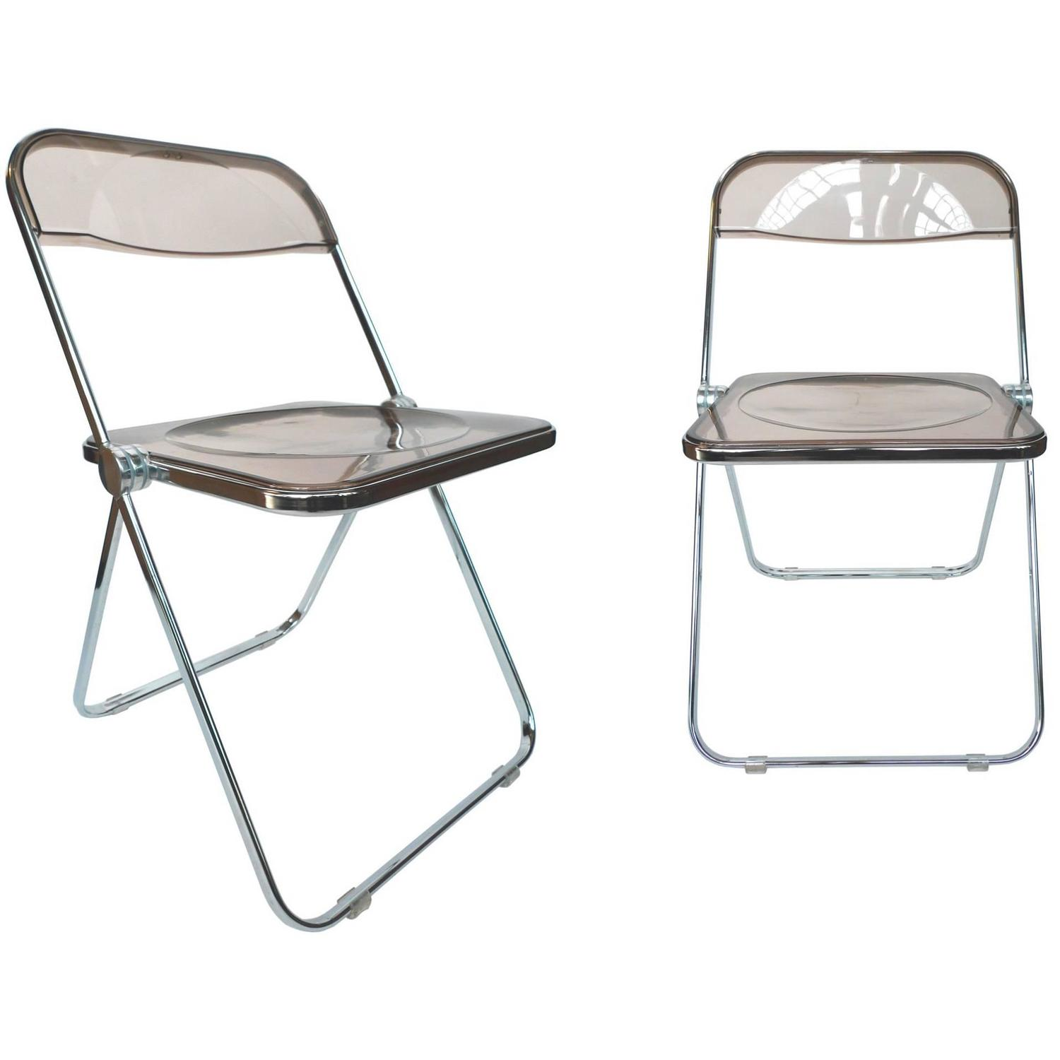 1960s Plia Lucite and Chrome Folding Chairs by Giancarlo Piretti