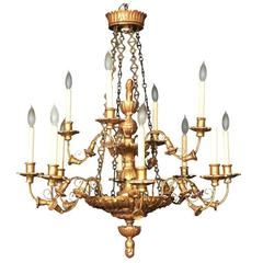 19th Century Italian Carved and Giltwood Chandelier Now Electrified