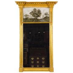 Federal / Classical Giltwood Églomisé Mirror, Probably Boston, circa 1810-1820