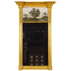 Federal / Classical Giltwood Églomisé Mirror, Probably Boston, circa 1810-1820