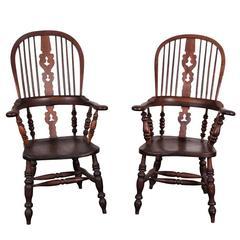 Pair of 19th Century Oak Windsor Chairs, circa 1820-1840