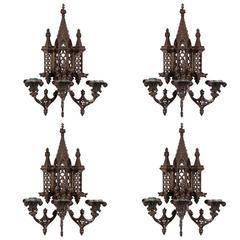 Set of Four Impressive Bronze Gothic Form Wall Sconces