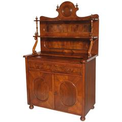 19th Century Biedermeier Credenza Sideboard with Rack, Solid and Folder Walnut