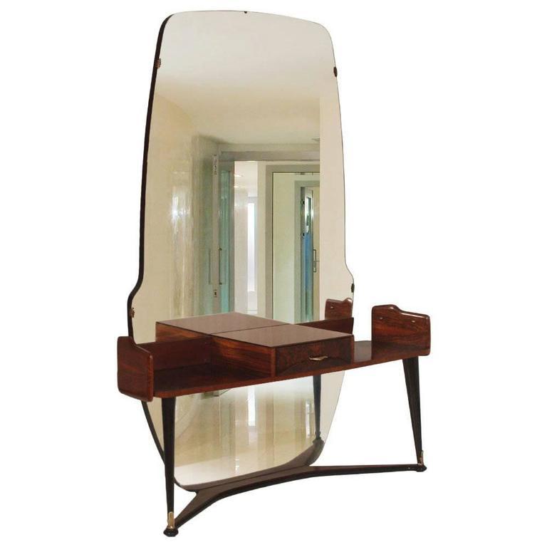 Italian Mid-Century Vanity Console Cesare Lacca Style with Mirror in Burl Walnut