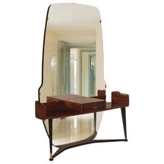 Italian Mid-Century Vanity Console Cesare Lacca Style with Mirror in Burl Walnut