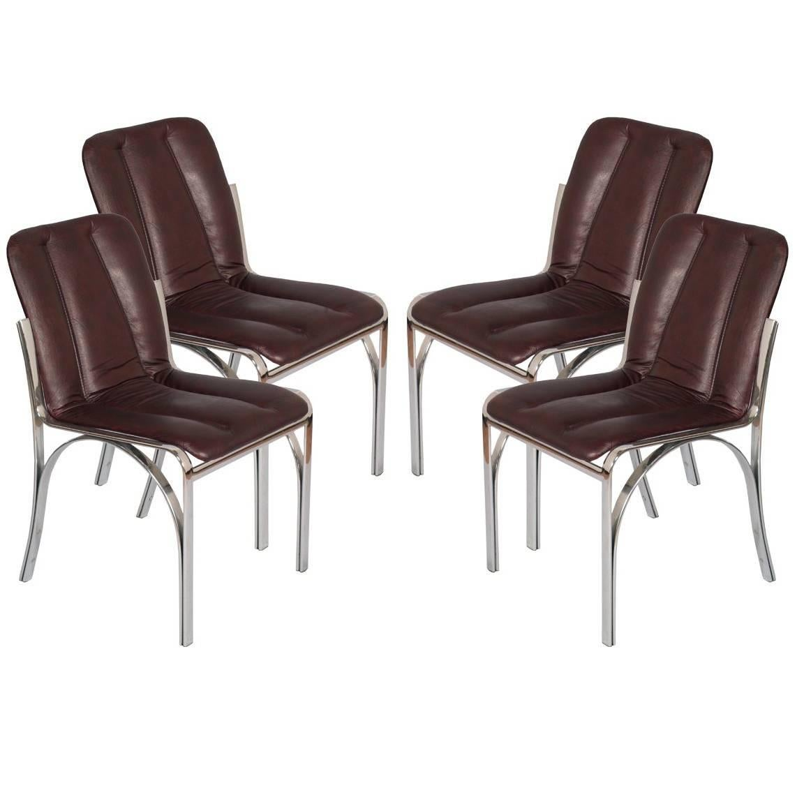 Italian 1970s Chairs Chromed Steel and Soft Leather  Gastone Rinaldi Manner
