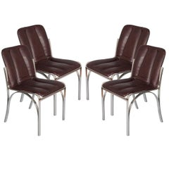 Italian 1970s Chairs Chromed Steel and Soft Leather by Rinaldi Mario Manner